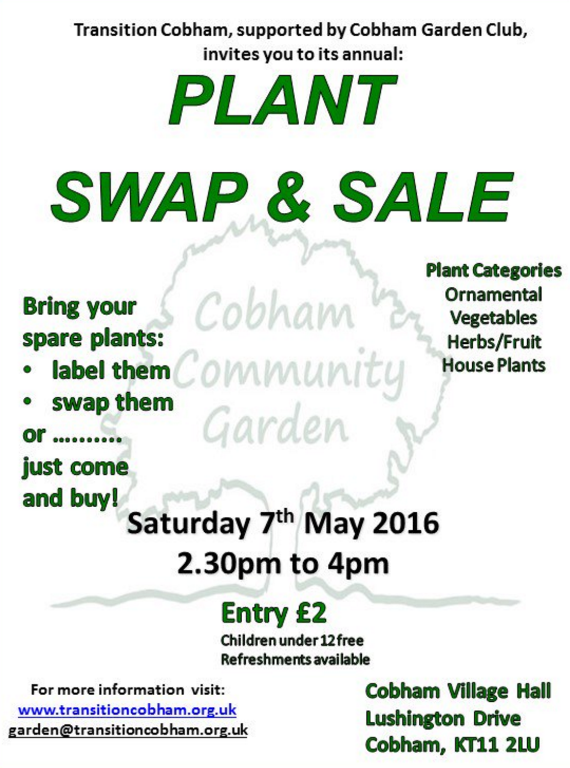 Cobham Plant Sale and Swap May 2016
