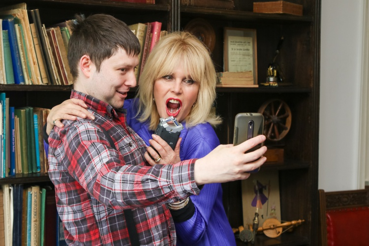 Absolutely Fabulous star, Joanna Lumley, opened the newly-refurbished building of The Grange Centre for People With Disabilities. Here she is with Surrey Hills Radio presenter Tom