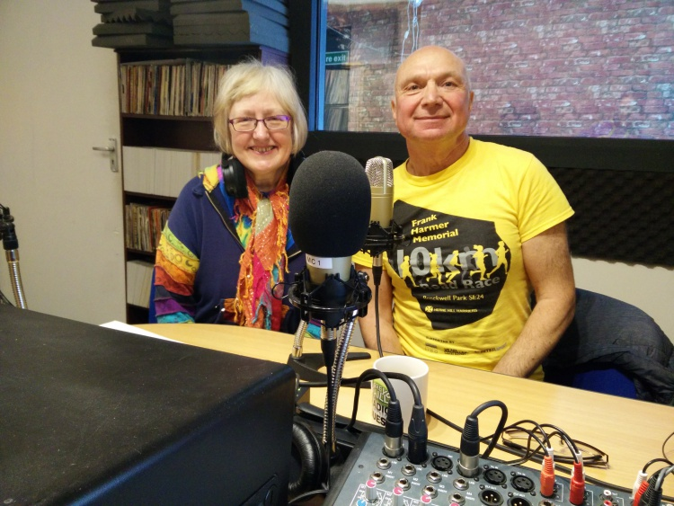 Local runner Peter Dry in teh studio with radio show host Jules the Rambler